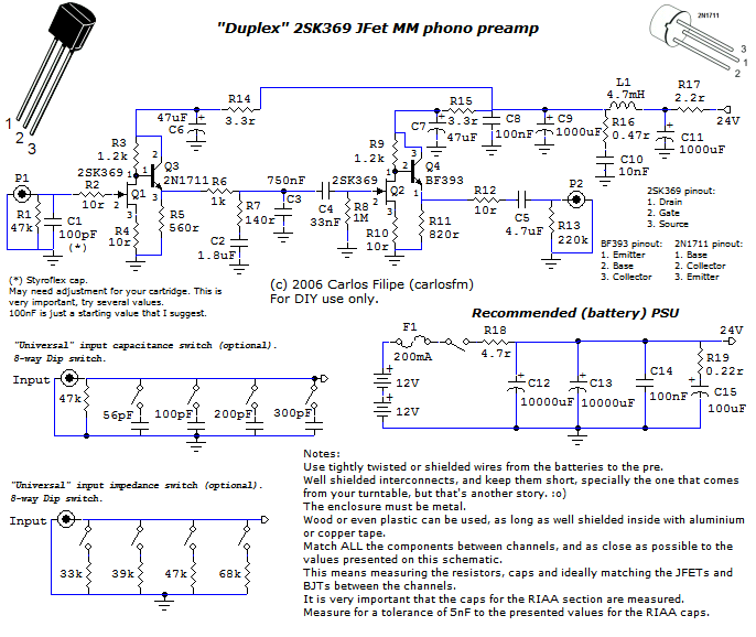 Circuit diagram and notes for the Duplex phono pre-amp designed by Carlos Filipe Machado